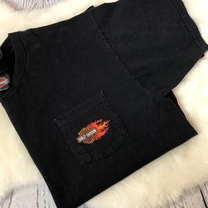 •Harley-Davidson• Front Pocket Black Tee Men's XL